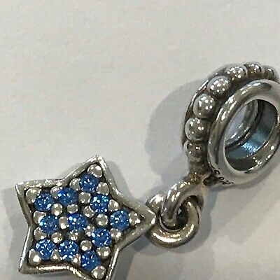 AU25 • Buy Preowned Authentic Pandora Blue CZ Star Pave Dangle Charm 791024 Retired