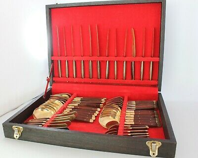 £35 • Buy Canteen Of Cutlery Wooden Handles Gold Coloured For 6 People Boxed GC (AN_818)