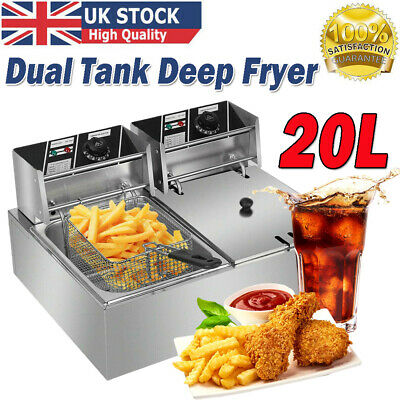 £98.98 • Buy 20L Commercial Electric Deep Fryer Twin Fat Chip Dual Tank Stainless Steel 5000w
