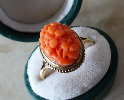 £130 • Buy BEAUTIFUL VINTAGE GOLD & CORAL RING With CARVED CORAL FLOWER PANEL