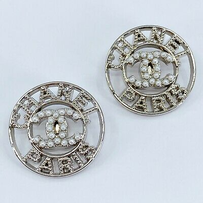 £18.14 • Buy One Pair Authentic CHANEL Button, Stamped Silver Metal 24mm Designer Art Buttons