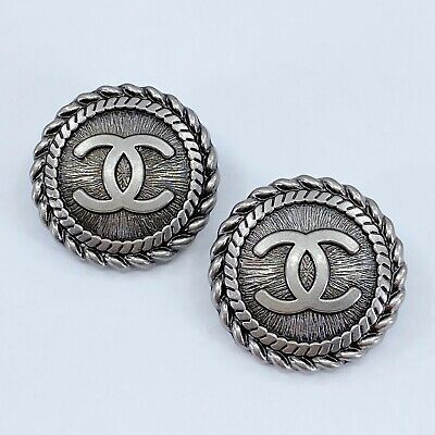 £18.14 • Buy One Pair Authentic CHANEL Button, Stamped Silver Metal 22mm Designer Art Buttons