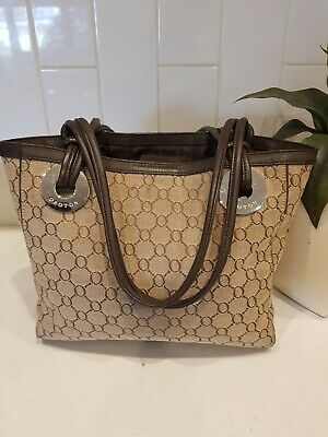 AU33 • Buy Rrp $395 Oroton O 3 Compt  Canvas And Brown Leather Shoulder Bag/tote Bag