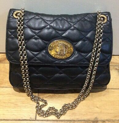 £125 • Buy Lulu Guinness Eyelet Annabelle Bag In Black Nappa Leather Gold Hardware & Chain
