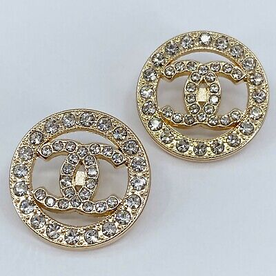£18.14 • Buy One Pair Authentic CHANEL Buttons, Stamped Gold Metal 22mm Designer Art Buttons