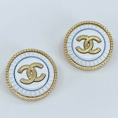 £18.14 • Buy One Pair Authentic CHANEL Buttons, Stamped Gold Metal 23mm Designer Art Buttons