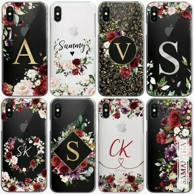 AU15.85 • Buy Personalised Initials Flower Phone Case Clear Hard Cover For Nokia Oppo Oneplus