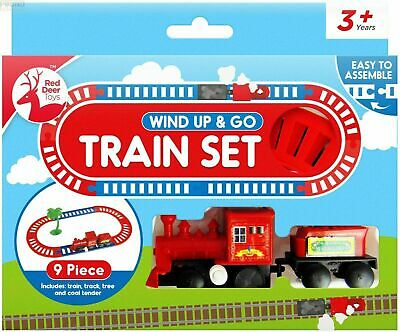 £4.03 • Buy Wind Up & Go Train Easy To Assemble 9 Pieces Red Deer Toy Train Set 3+ Kids Gift