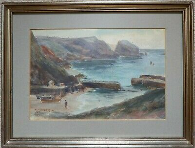 £75 • Buy Mullion Cove, Cornwall By Sidney James Beer (1875-1953). Framed Watercolour.