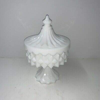$16.99 • Buy RARE Diamond Point Milk Glass Circus Tent Lid Pedestal Small Candy Bowl