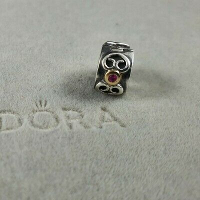 AU49 • Buy Authentic Retired Pandora Two Toned Pink Scroll Clip 14kt Sapphire - #790382PSA