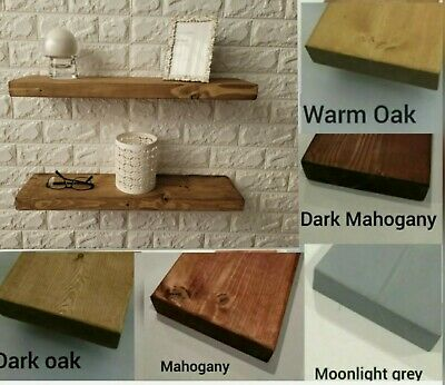 £20.99 • Buy Rustic Solid Wooden Floating Shelf + Brackets Handmade Various Colours/Sizes