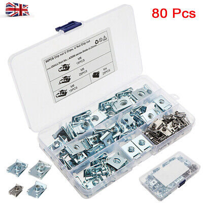 £11.49 • Buy 80PCS U Nuts SPIRE CLIPS CHIMNEY NUTS M4 M5 M6 M8 Speed Fasteners Assorted Kit