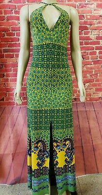 £82.92 • Buy Rubber Ducky Productions Green Multicolor Crisscross Maxi Dress Backless Size M?