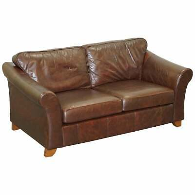 £950 • Buy Marks & Spnecers Rrp £1999 Abbey Brown Leather Sofa Part Of Suite With Armchairs