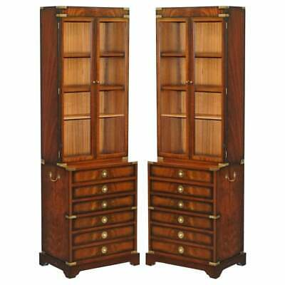$7627.95 • Buy Pair Of Harrods Kennedy Military Campaign Mahogany Bookcases + Chest Of Drawers