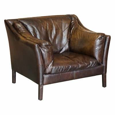 £650 • Buy Halo Groucho Bike Tan Brown Leather Armchair Loveseat Part Of A Large Suite