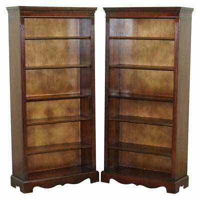 $3120.53 • Buy Pair Of Vintage Mahogany Framed Library Bookcases On Wheels Adjustable Shelves