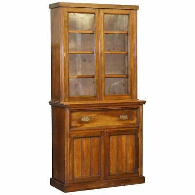 $2432.15 • Buy Circa 1880 Light Mahogany Library Bookcase Secretaire Desk Brown Leather Surface
