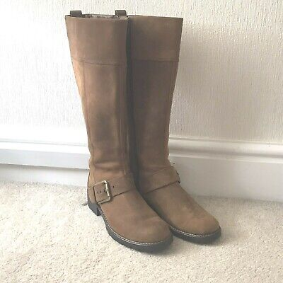 £15 • Buy CLARKS Womens / Girls Tan Knee High Suede Boot - Size 4D