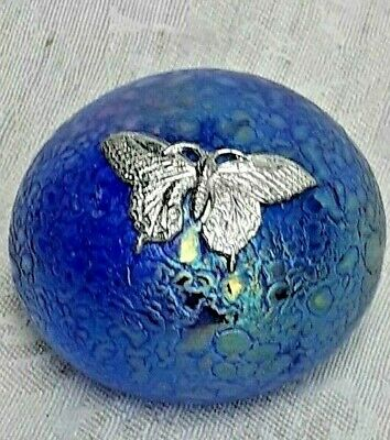 £19 • Buy Heron Glass Blue Paperweight With Pewter Butterfly - Hand Crafted In UK - Boxed
