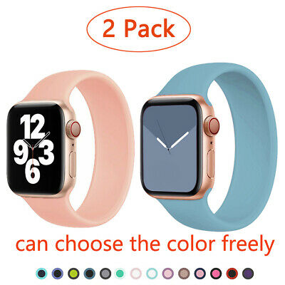 $ CDN6.07 • Buy 2 Pack Solo Loop Silicone Strap Band For Apple Watch IWatch Series 6 5 4 3 SE
