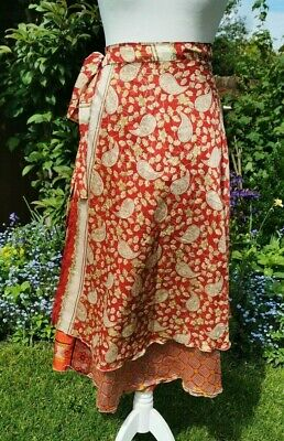 £15.95 • Buy One Size Silk Wrap Skirt Multicolour Indian Ethnic Hippy Festival Ruby Red