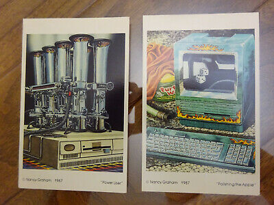 $38 • Buy Two Vintage 1987 Postcards Featuring IBM PS/2 And Apple Macintosh SE Computers