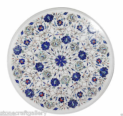 £322.68 • Buy 18  Marble Corner White Round Table Top Lapis Inlay Art For Home Decor & Gifts