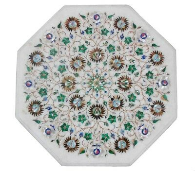 £303.12 • Buy 18  White Marble Side Table Top Malachite Inlay Handmade Home And Garden Decor