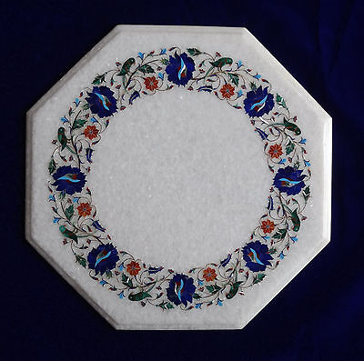 £279.65 • Buy 18  Marble Corner Table Top Lapis Inlay Floral Art For Home Decor And Garden