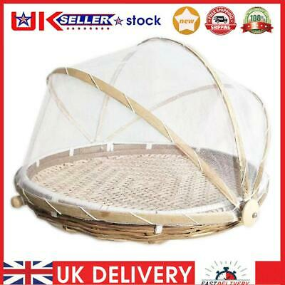 £13.53 • Buy Folding Bamboo Basket Mosquito Dustpan Food Storage Dustproof Cover (S)