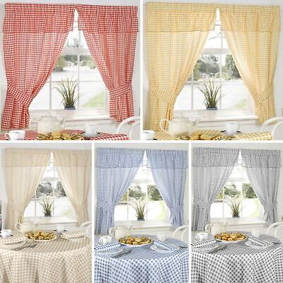 £13.95 • Buy Gingham Kitchen Curtain Sets Molly Checked Ready Made Pencil Pleat Curtains Pair