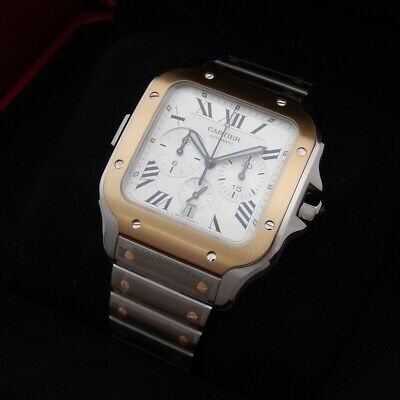 £9401.02 • Buy 💛 Cartier Santos W2SA0008 Extra LARGE Chronograph Two Tone Steel & Gold 💛