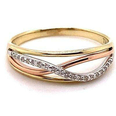 AU225 • Buy 9ct Yellow, Rose And White Gold Diamond Claw Set Crossover Ring