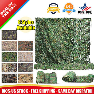 $13.99 • Buy Military Camouflage Netting Hunting Camping Camo Army Net Woodland Leaves Desert