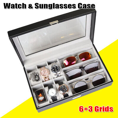 £11.97 • Buy Sunglasses And Watch Box 6+3 Grids Leather Display Glass Jewelry Storage Case UK