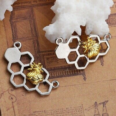 £1.85 • Buy Bee Honeycomb Connector Charms Silver Tone Pendant Gold Bumble Honey Pack Of 4