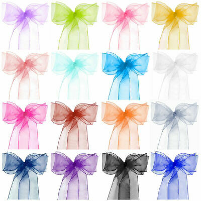 £10.99 • Buy 10 50 100 Organza Sashes Chair Cover Bow Sash WIDER FULLER BOWS Wedding Party