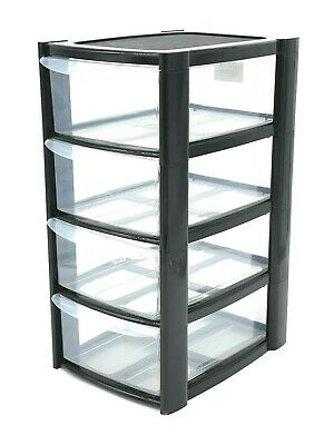 £9.99 • Buy Black Plastic 4 Drawer Tower Storage Unit Small A5 Stationery Filing 40cm New