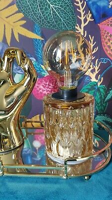 £13.95 • Buy GOLD Glass Retro Style Battery Operated Desk Table Lamp Bedside Light Lantern