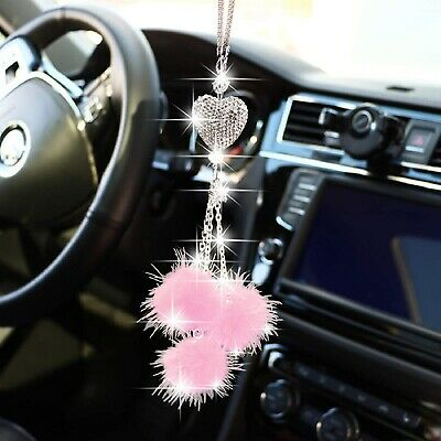 $11.89 • Buy Bling Car Mirror Charms Accessories For Women Bling Love Heart Pink Plush Ball