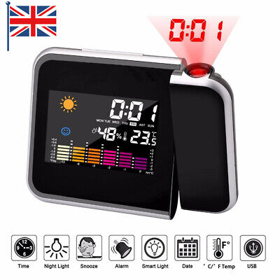 £9.49 • Buy LED Wall Projection Alarm Clock Time Temperature Weather Station LCD Display UK