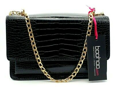 £18.99 • Buy Boohoo Croc Structured Cross Body & Chain Bag Black One Size