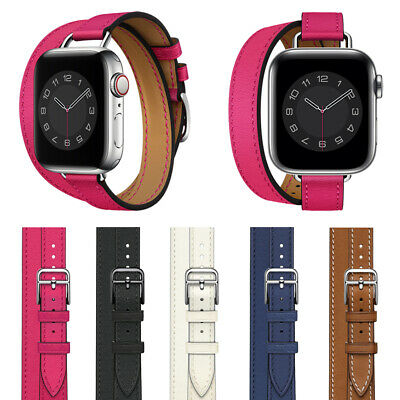 AU20.38 • Buy 40/44mm Slim Double Tour Leather Band Strap For Apple Watch Series 6 5 4 3 2 SE