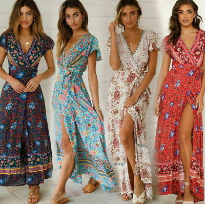 £11.99 • Buy Womens Casual Wrap Floral Ladies V-Neck Summer UK Cosy Beach Sexy Maxi Dress
