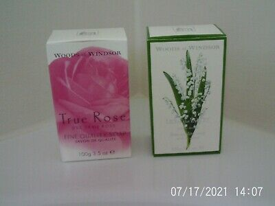£4.99 • Buy  2 Vintage WOODS OF WINDSOR Boxed Soaps TRUE ROSE, LILY OF THE VALLEY VGC