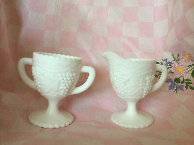 $10.50 • Buy Imperial Glass White Milk Glass Embossed Grape Footed Creamer & Sugar Bowl Set