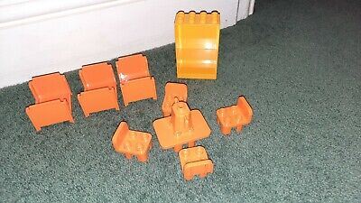£8.99 • Buy Duplo House Furniture Bundle Orange Beds Shelf Unit Table And Chairs  Teapot