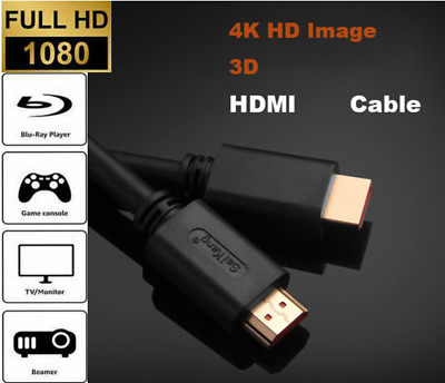 £3.50 • Buy PREMIUM 4K HDMI CABLE 2.0 HIGH SPEED GOLD PLATED HDMI LEAD 1080P 0.5m 1m 2m